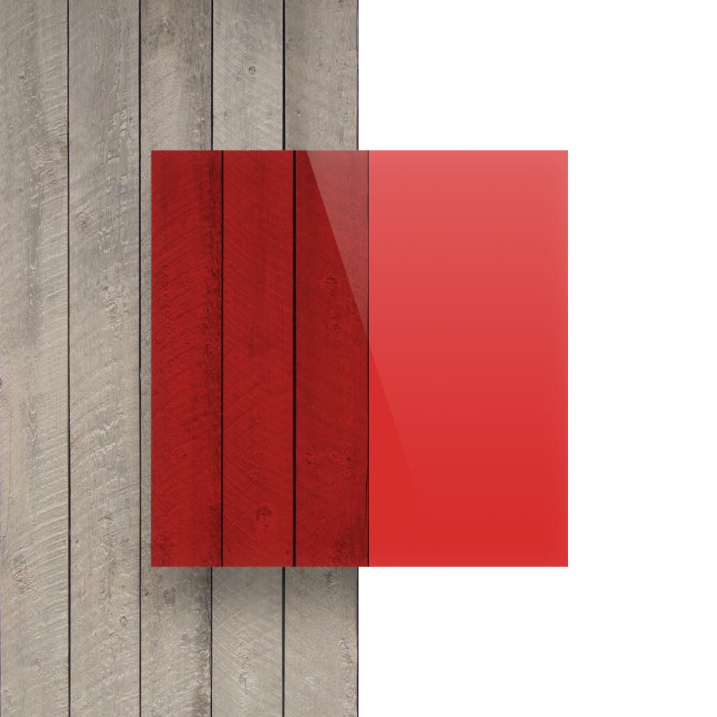 Voorkant plexiglas getint rood