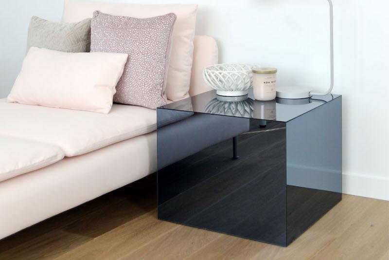 IKEA LACK tafel met gespiegeld plexiglas