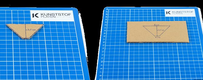 hologram maken van plexiglas - mal aftekenen op karton