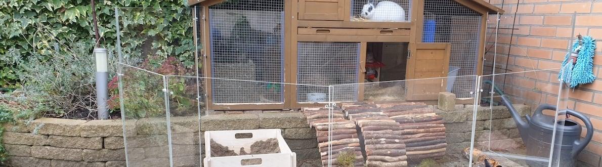 konijnenhok winddicht maken plexiglas banner