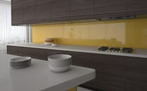 Kunststof keukenachterwand geel