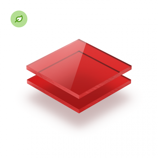 Gerecycled plexiglas Green Cast getint rood