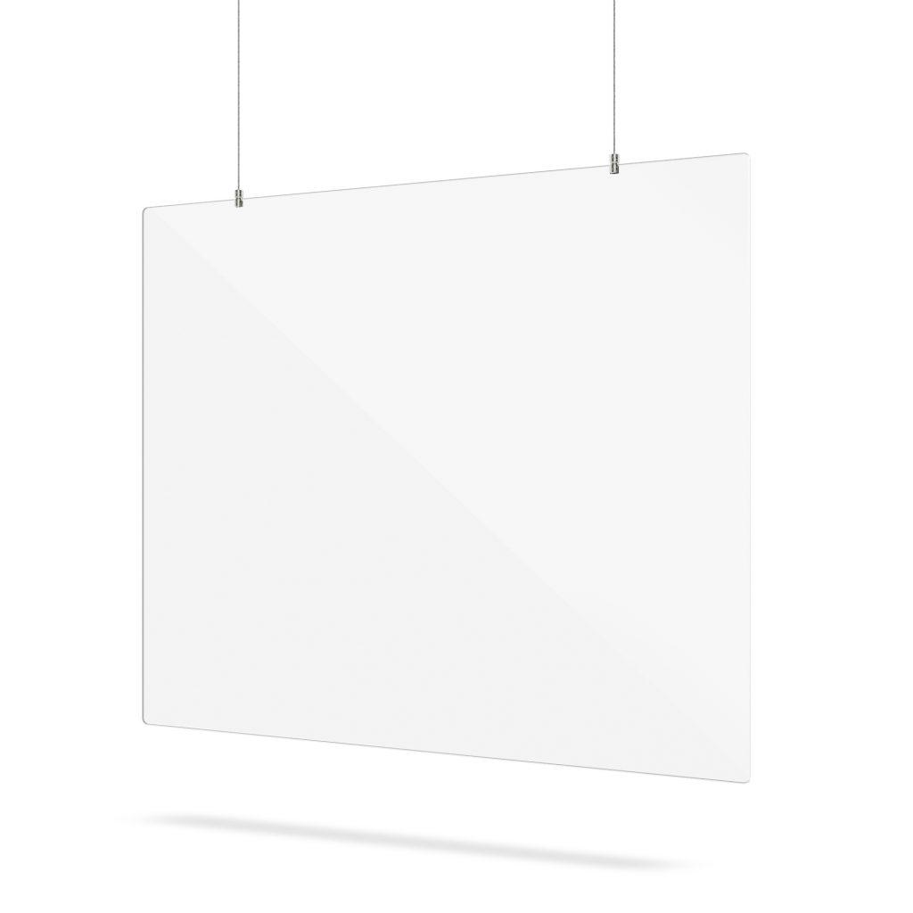 Hangend plexiglas scherm met ophangsysteem
