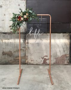Welkomstbord bruiloft koper frame helder plexiglas