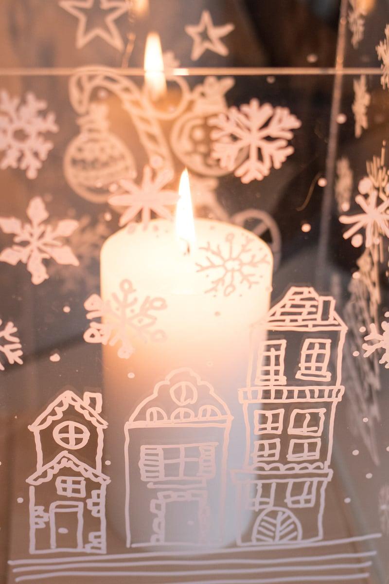 Kerst windlicht maken eindresultaat in sfeer