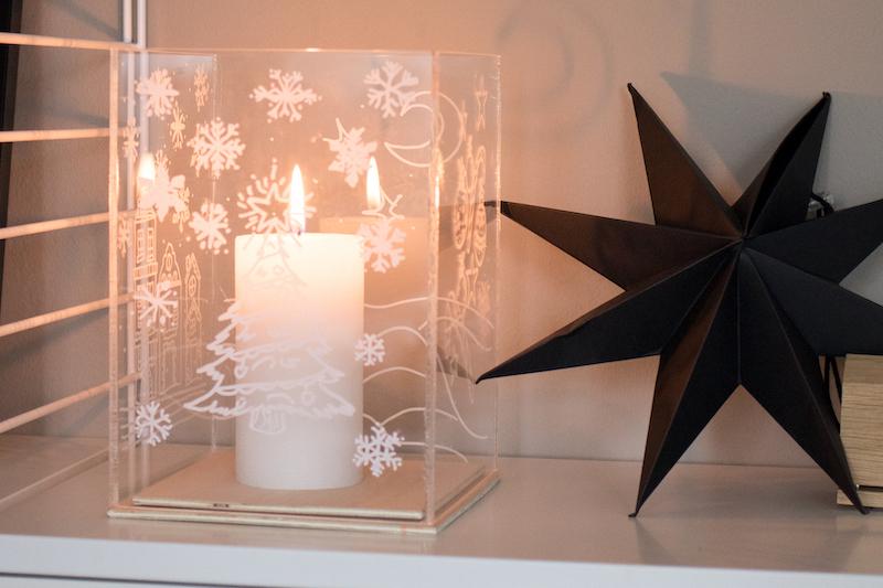 Kerst windlicht maken eindresultaat