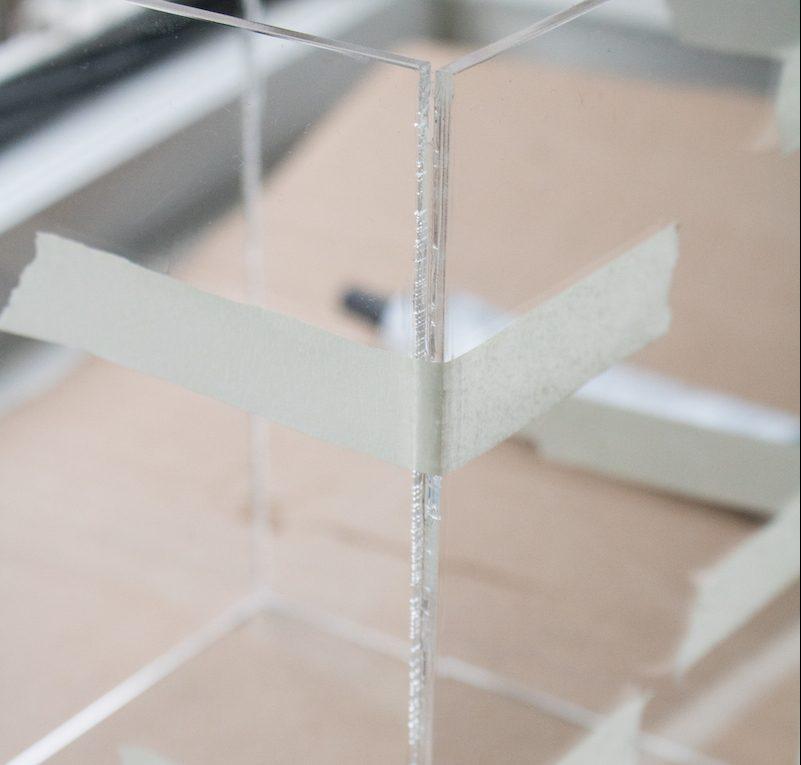 Kerst windlicht maken plexiglas lijmen