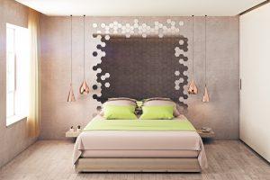 woondecoratie ideeën spiegelvormen spiegel hexagon