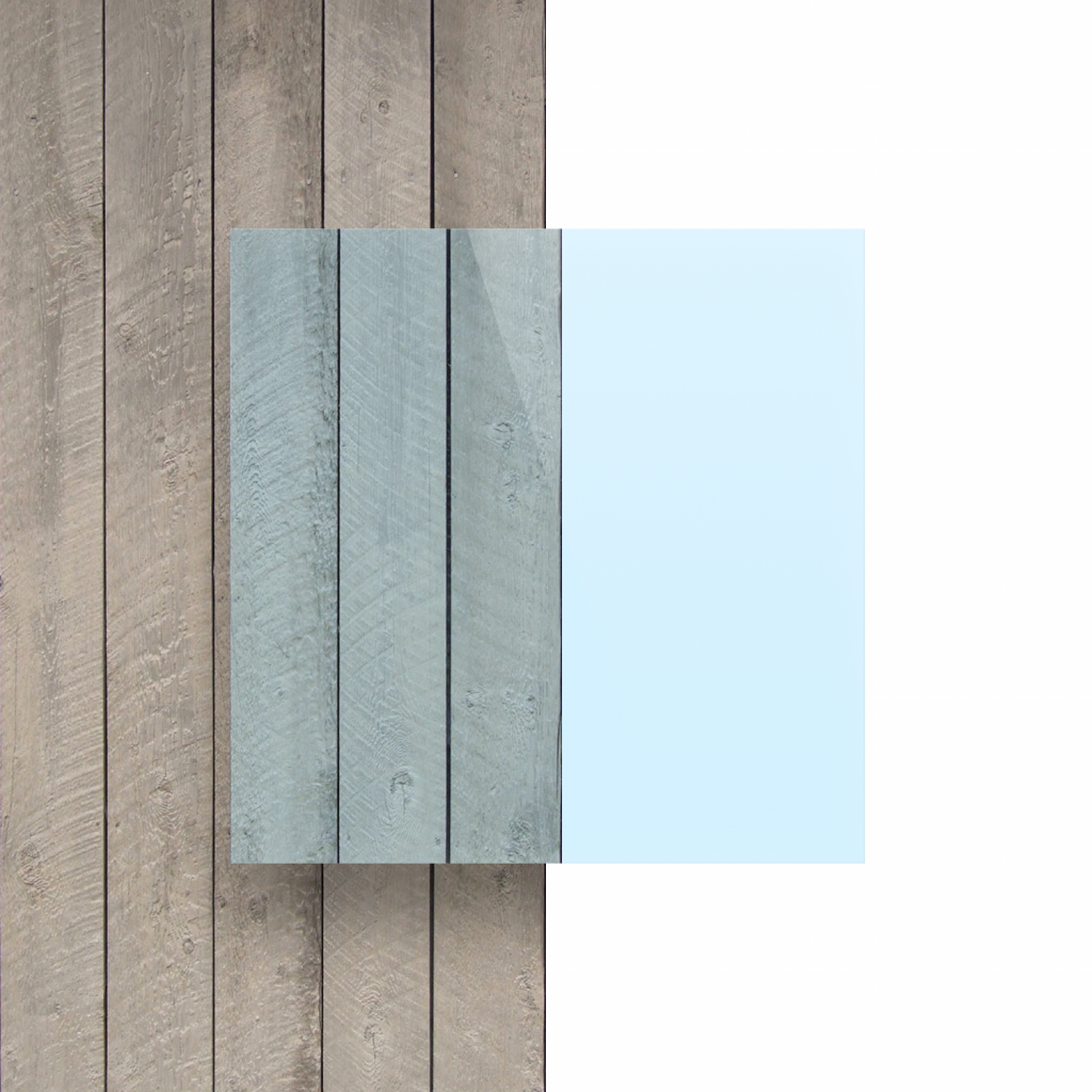 Voorkant plexiglas fluor blauw