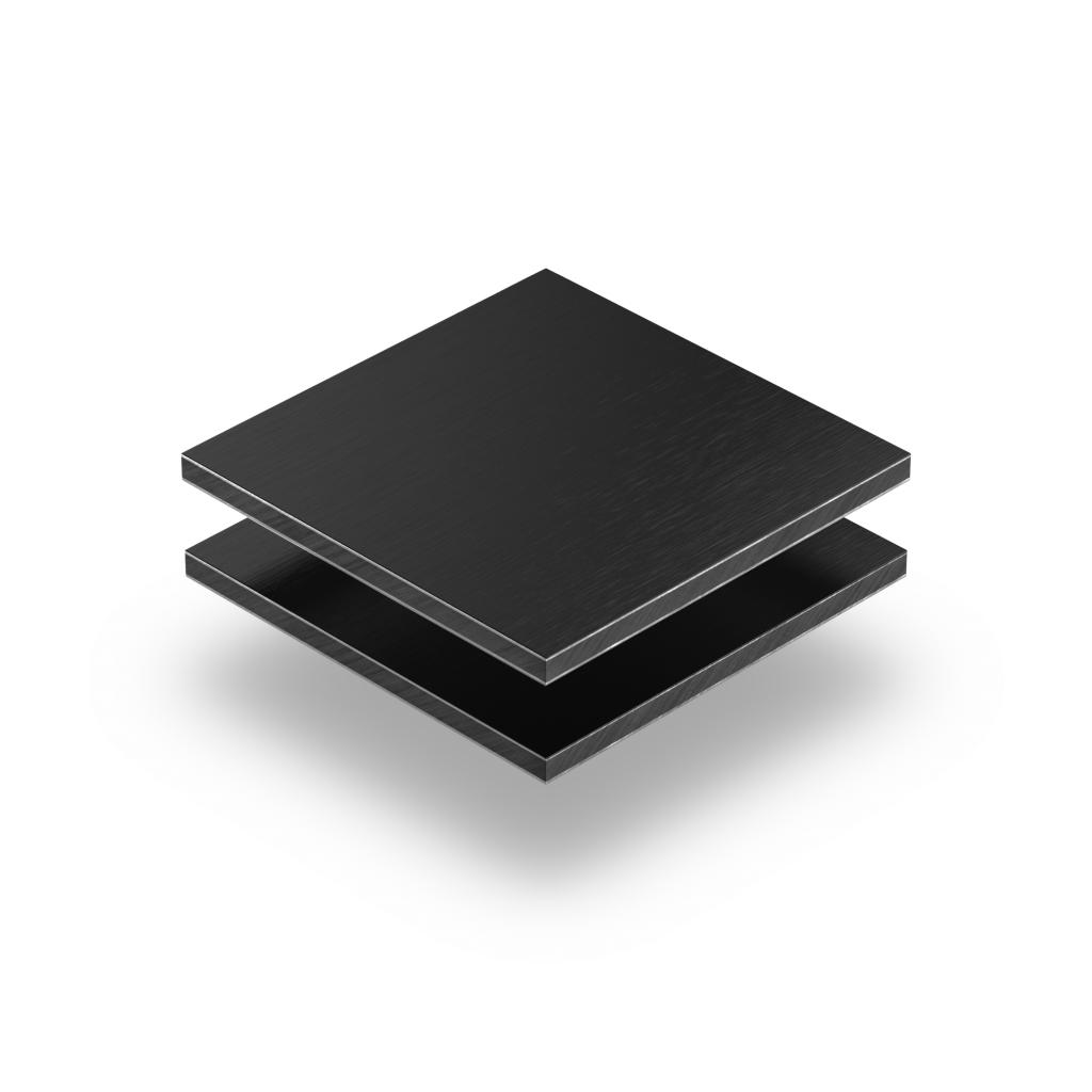Alupanel zwart geborsteld 3mm