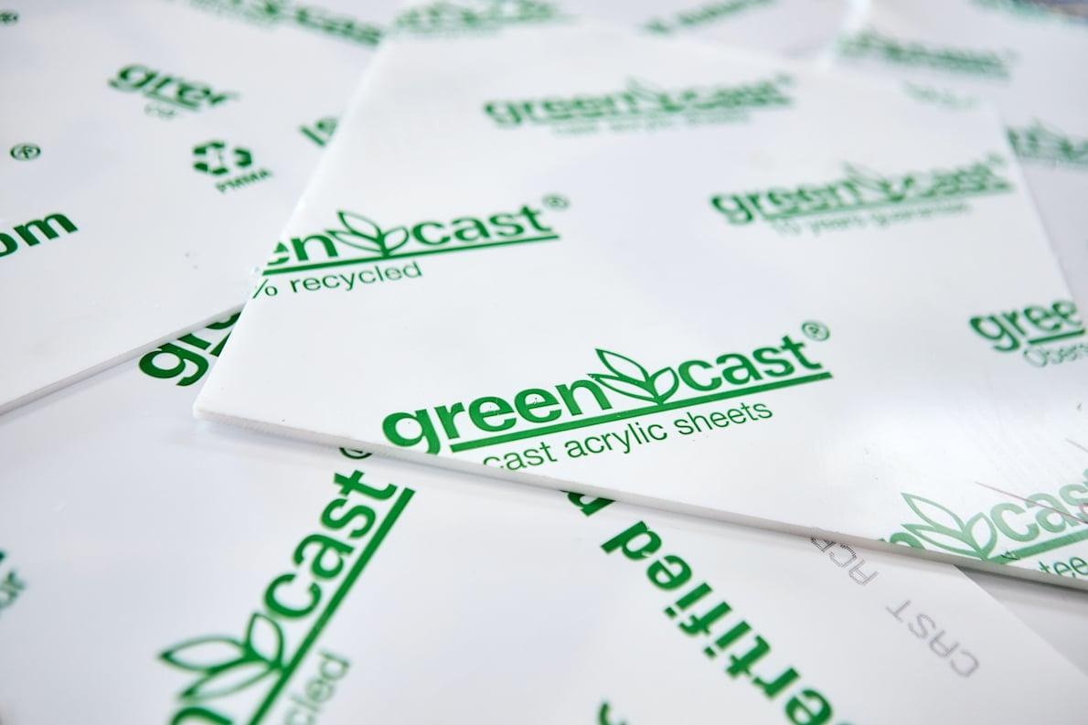 Gerecycled plexiglas Green Cast
