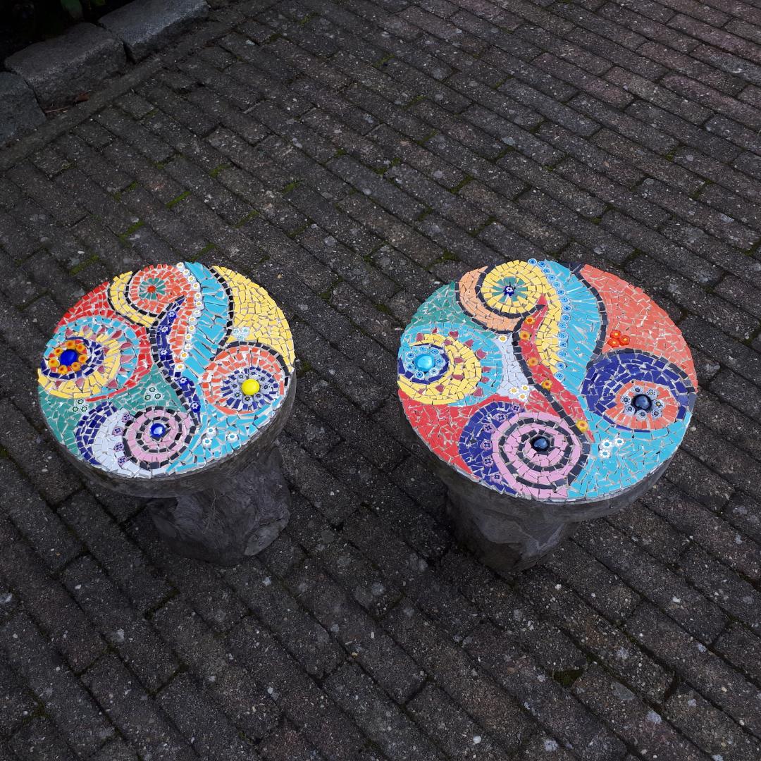 mozaïek tafeltjes met plexiglas bovenkant